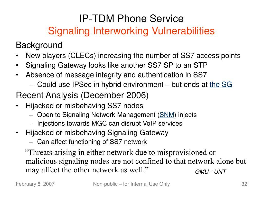 IP-TDM Phone Service
