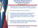 individual requirement to purchase insurance effective january 2014