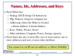 names ids addresses and keys