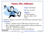 names ids addresses