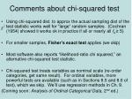 comments about chi squared test