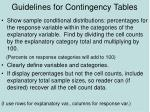 guidelines for contingency tables