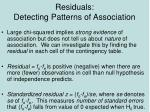residuals detecting patterns of association