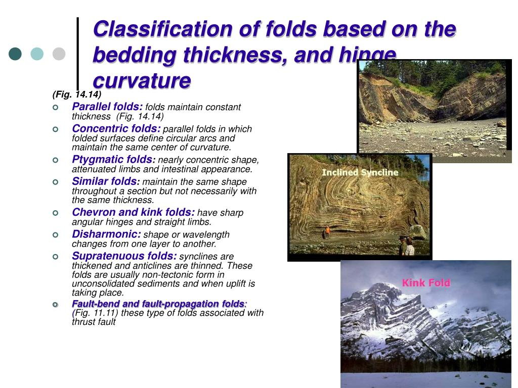 Classification of folds based on the bedding thickness, and hinge curvature