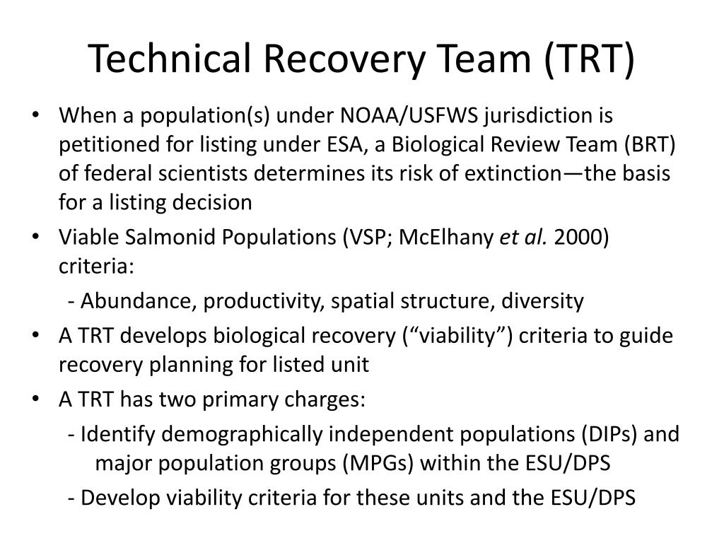 Technical Recovery Team (TRT)