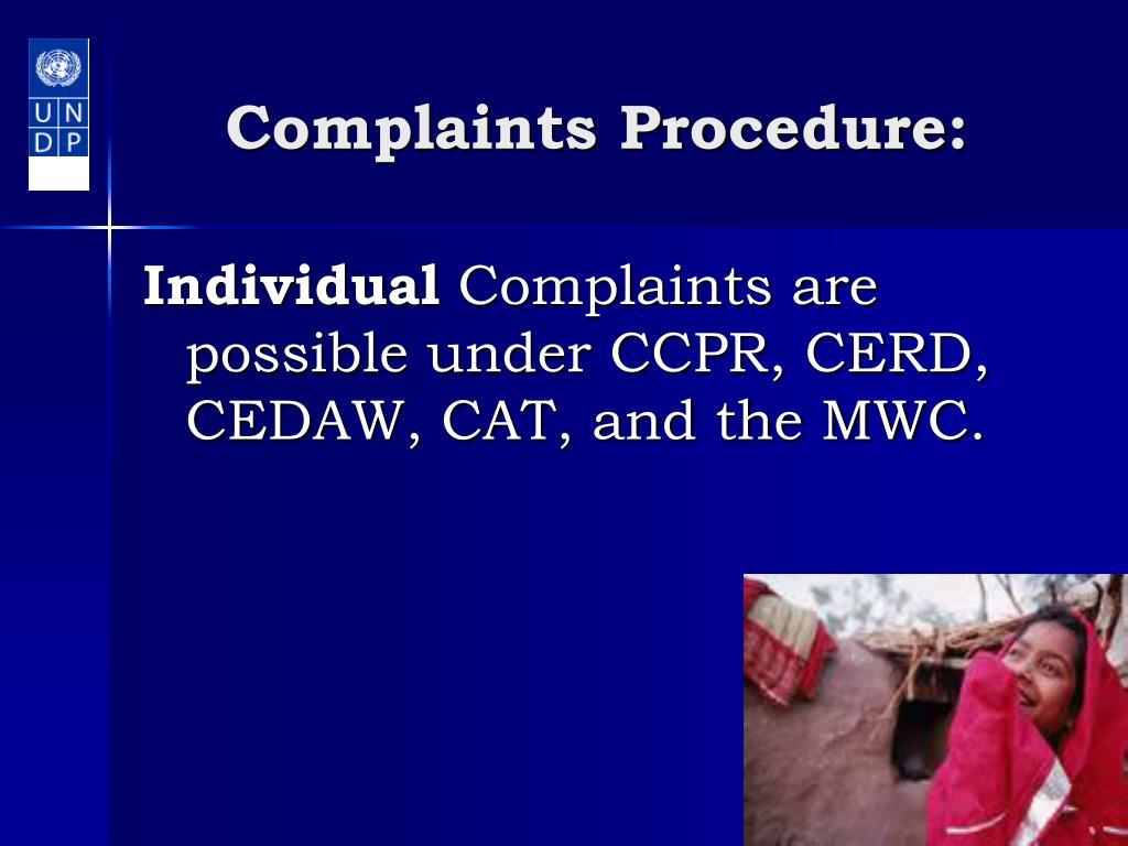 Complaints Procedure: