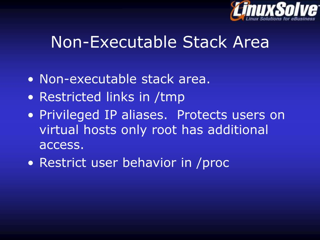 Non-Executable Stack Area