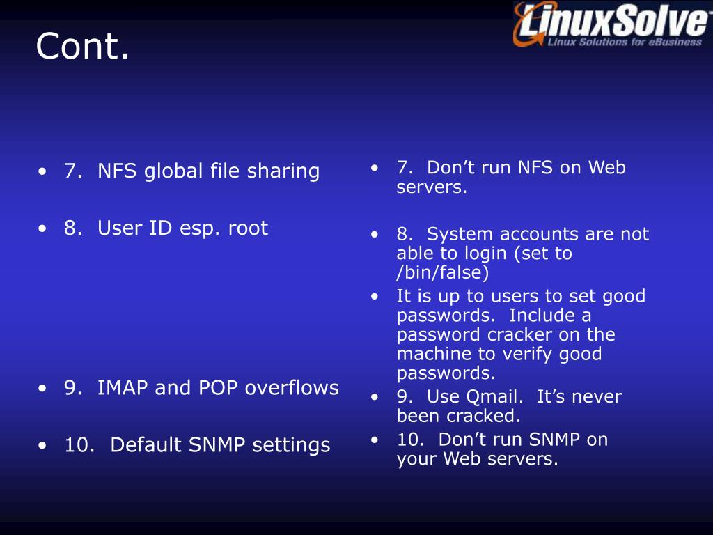 7.  NFS global file sharing