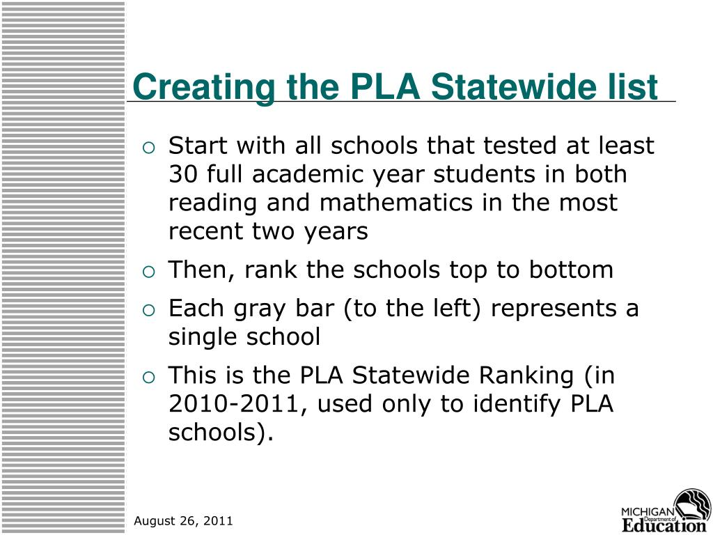 Creating the PLA Statewide list