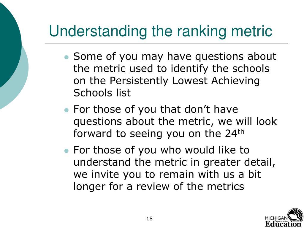Understanding the ranking metric