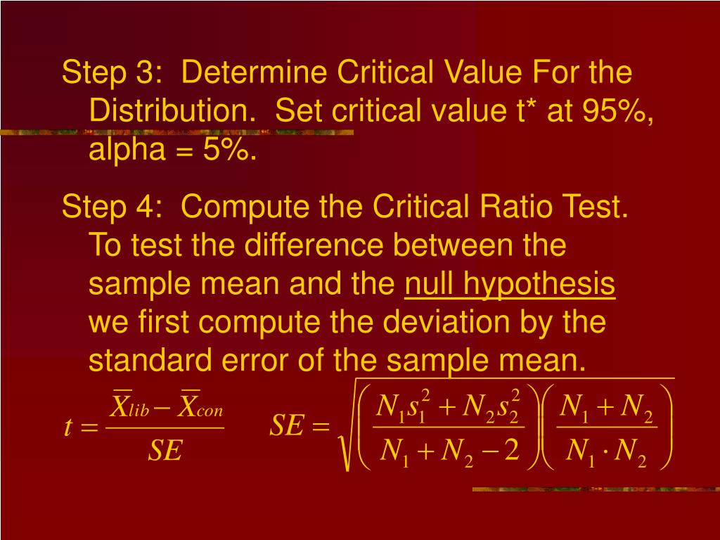 Step 3:  Determine Critical Value For the Distribution.  Set critical value t* at 95%, alpha = 5%.