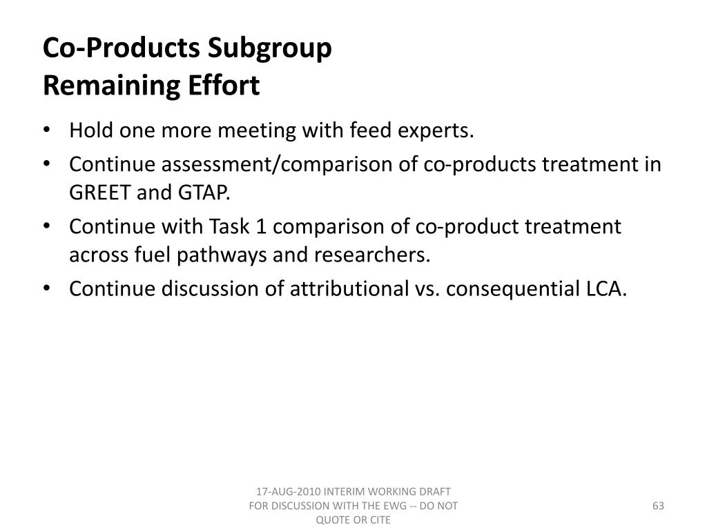 Co-Products Subgroup