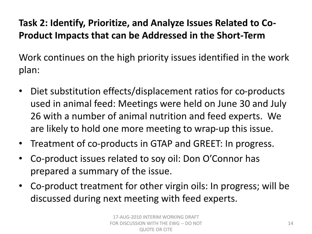 Task 2: Identify, Prioritize, and Analyze Issues Related to Co-Product Impacts that can be Addressed in the Short-Term
