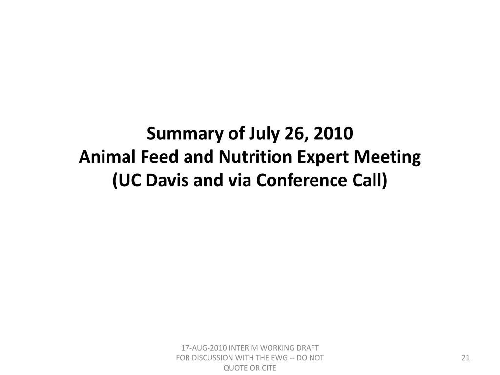 Summary of July 26, 2010