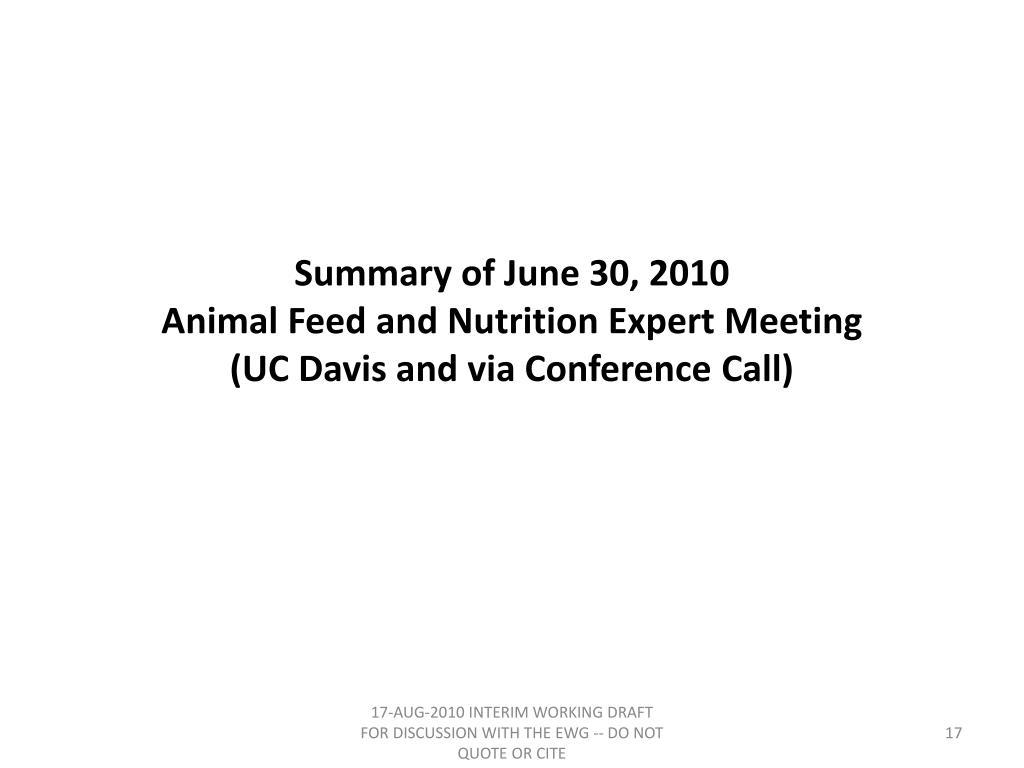 Summary of June 30, 2010