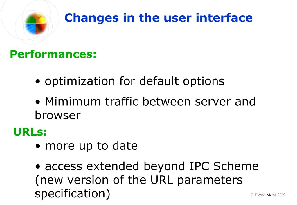 Changes in the user interface