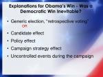 explanations for obama s win was a democratic win inevitable