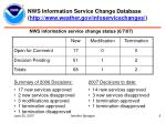 nws information service change database http www weather gov infoservicechanges