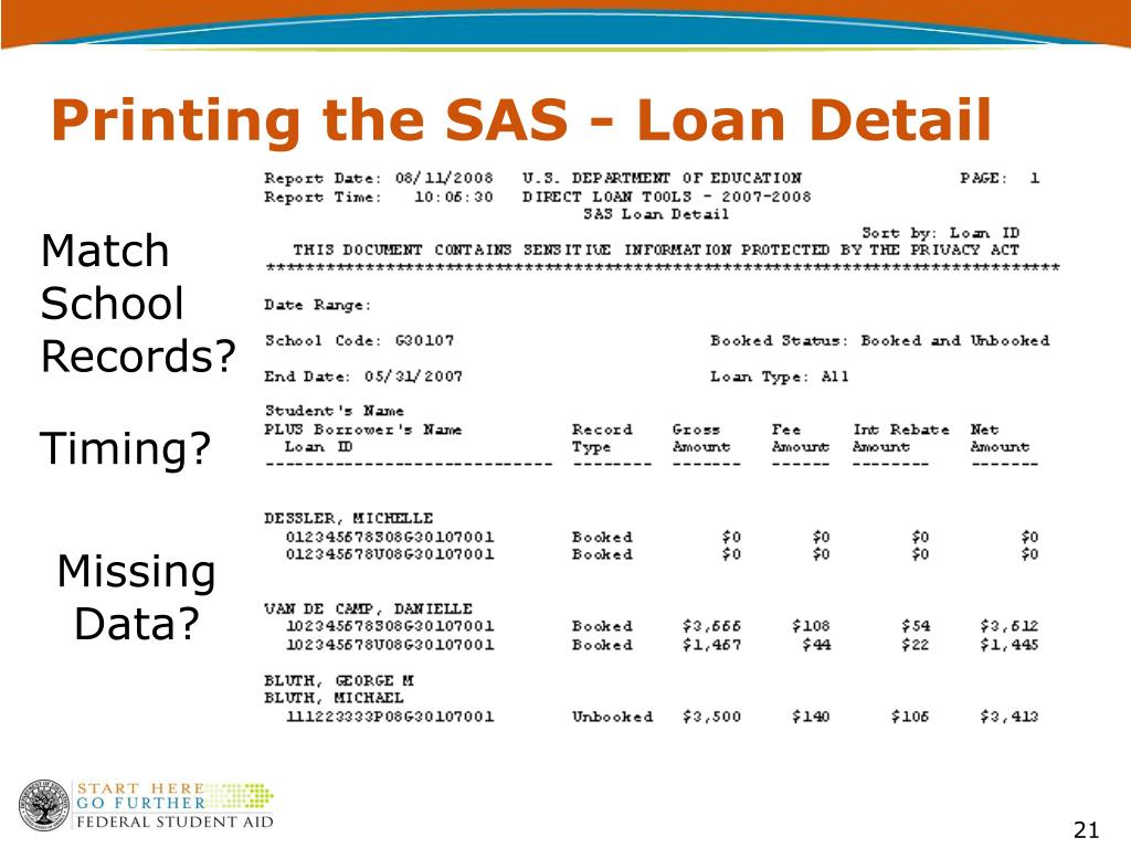 Printing the SAS - Loan Detail