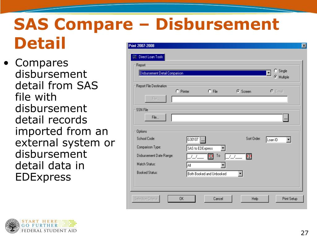 SAS Compare – Disbursement Detail