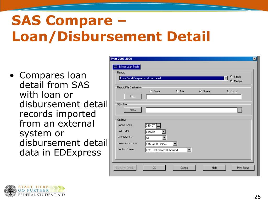 SAS Compare – Loan/Disbursement Detail