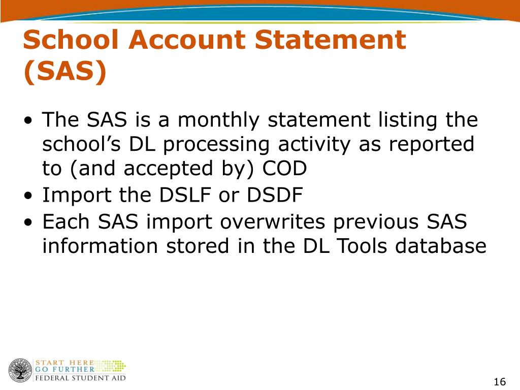 School Account Statement (SAS)