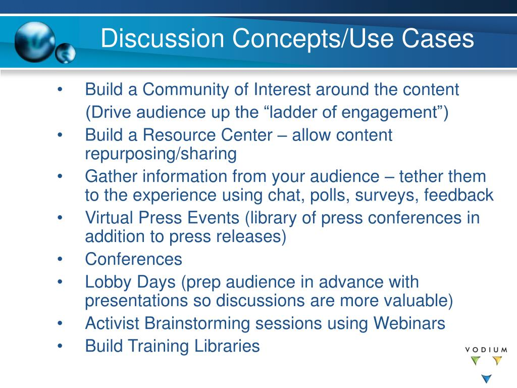 Discussion Concepts/Use Cases