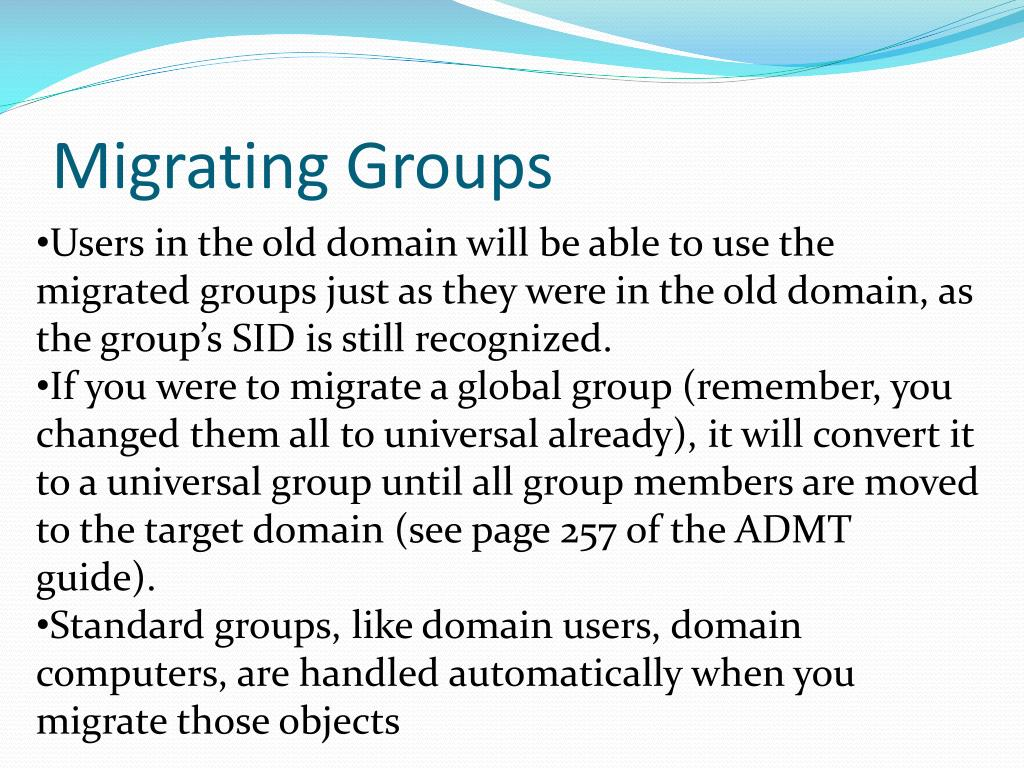 Migrating Groups