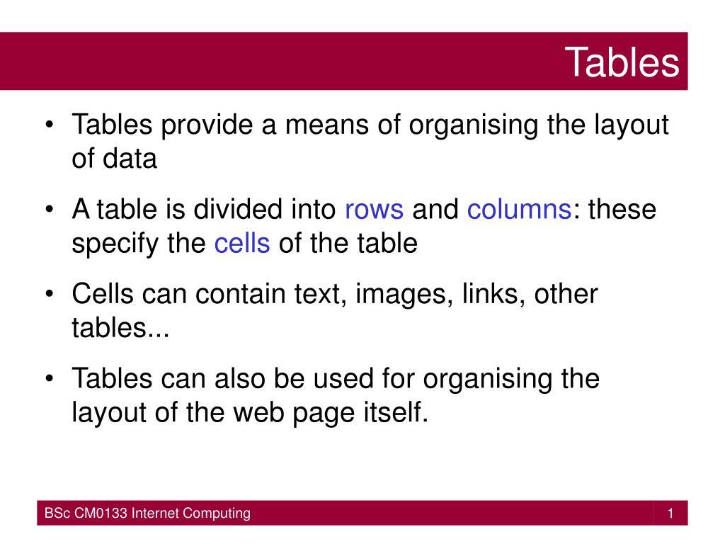 tables l.