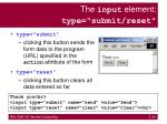 the input element type submit reset