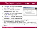 the input element type text