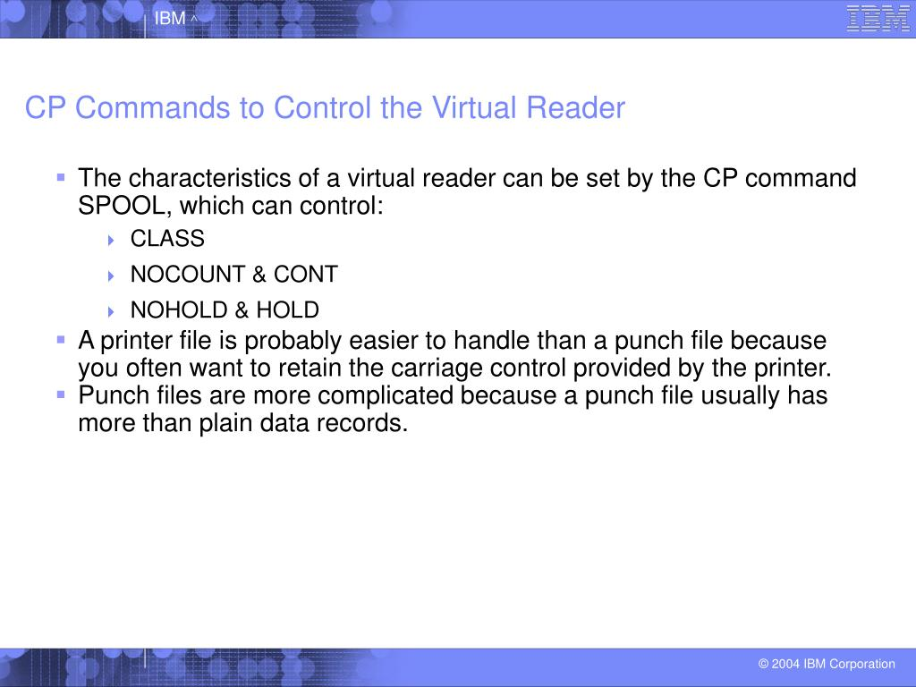 CP Commands to Control the Virtual Reader