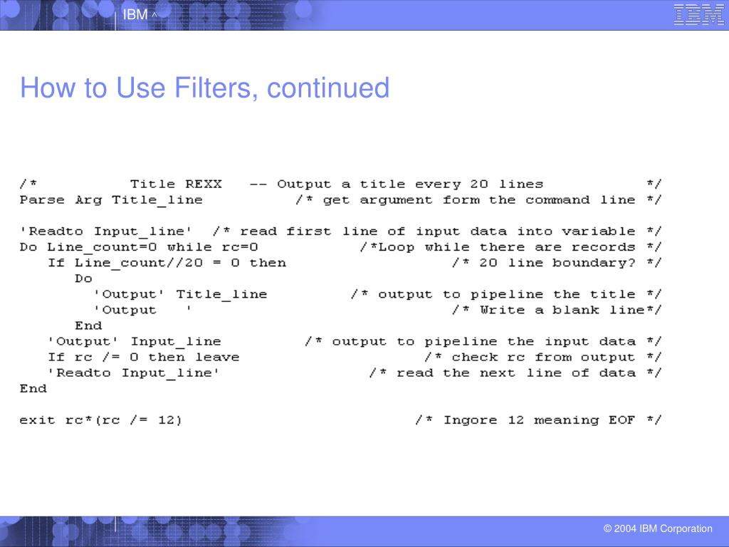 How to Use Filters, continued