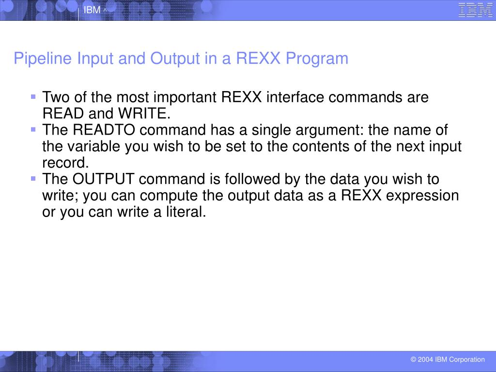 Pipeline Input and Output in a REXX Program