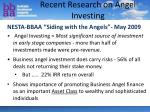 recent research on angel investing