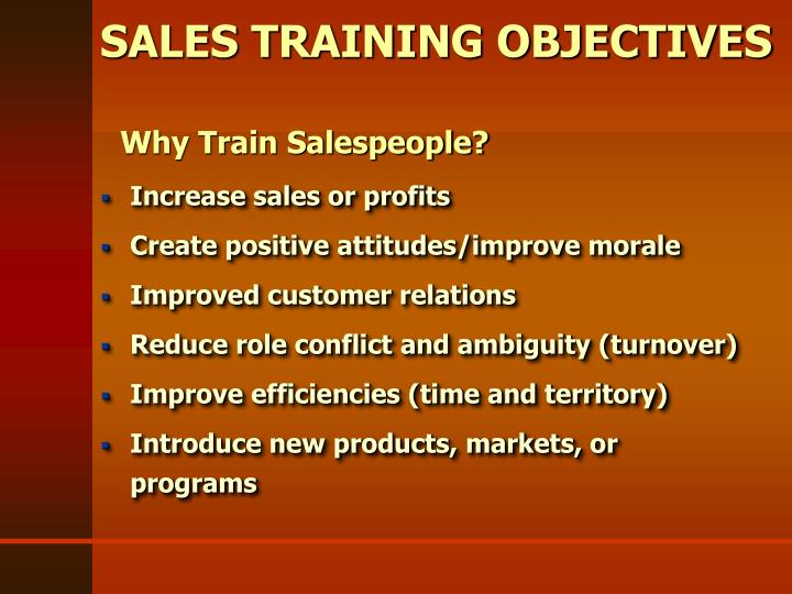 Sales training objectives
