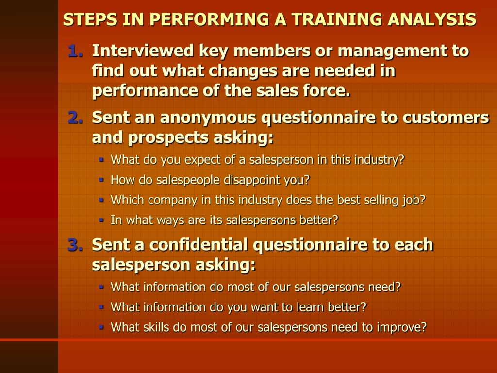STEPS IN PERFORMING A TRAINING ANALYSIS