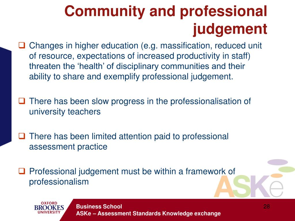Community and professional judgement
