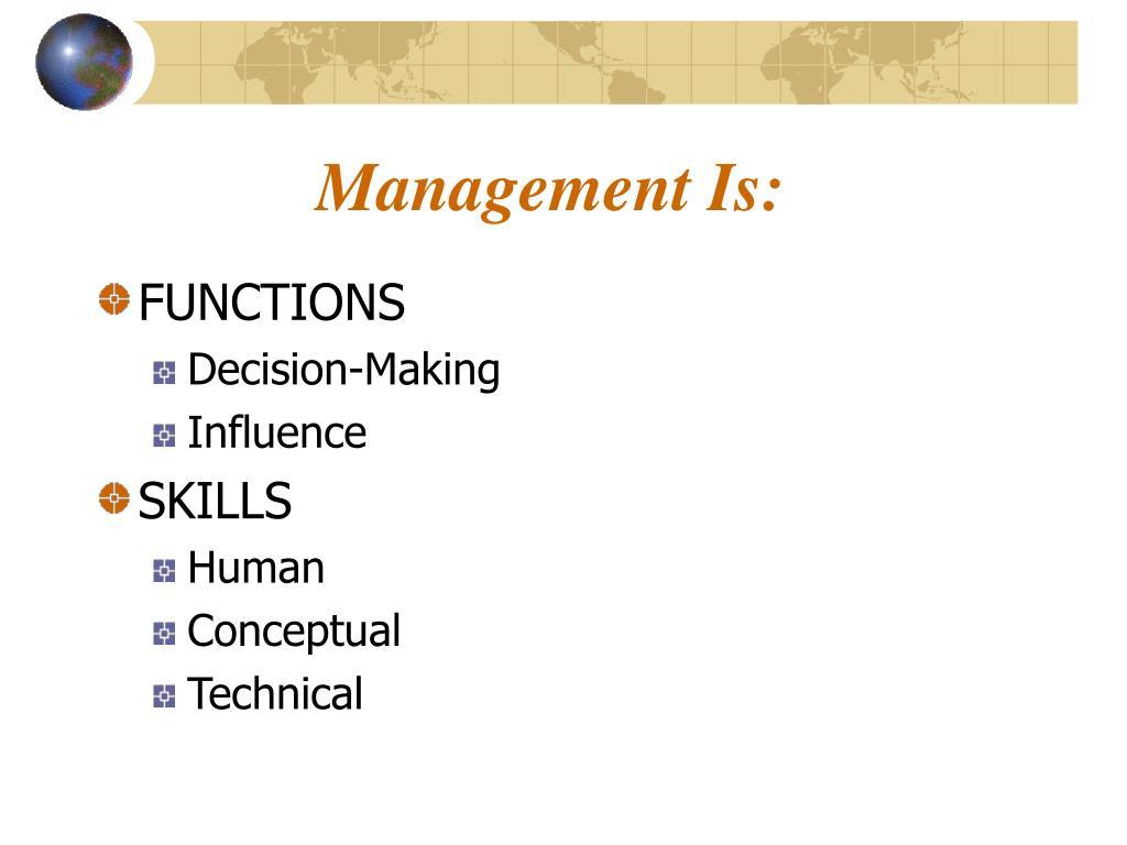 Management Is: