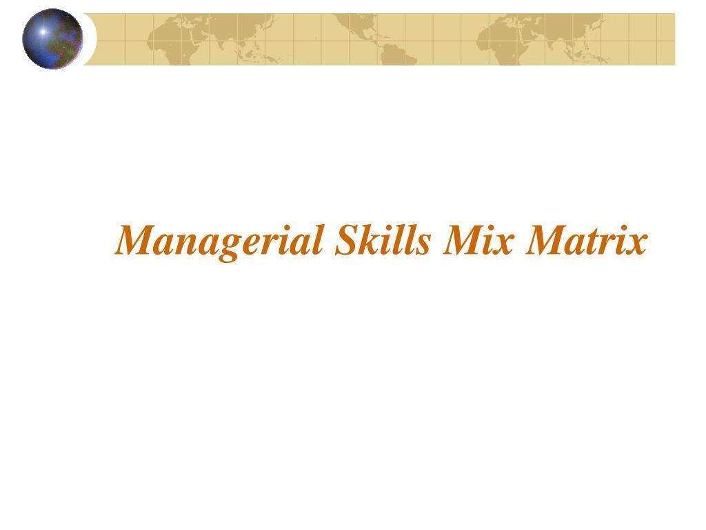 Managerial Skills Mix Matrix