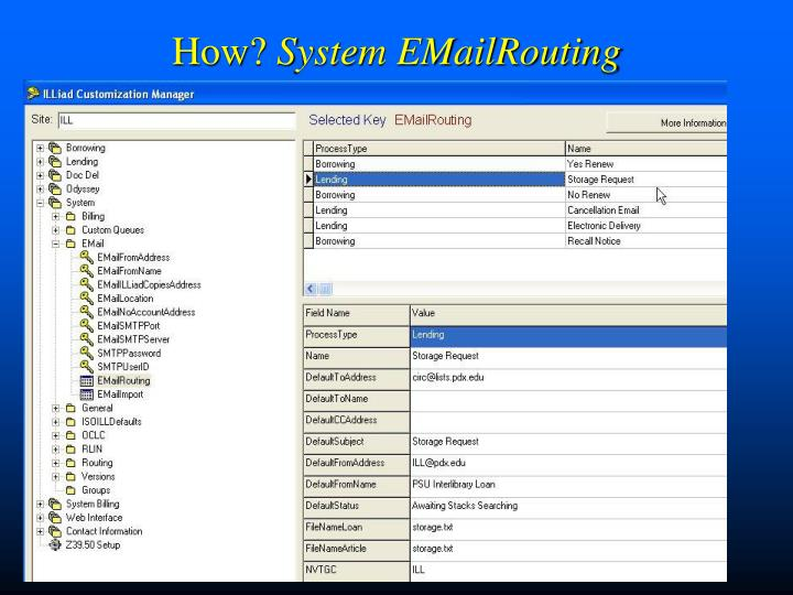 How system emailrouting