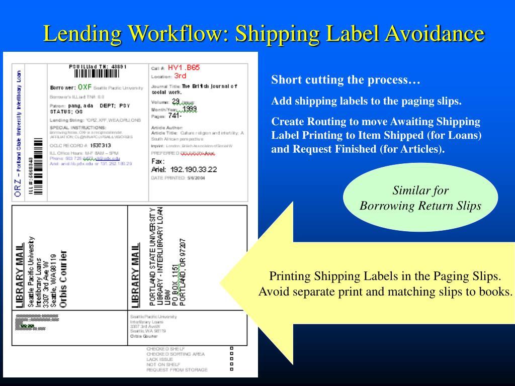 Lending Workflow: Shipping Label Avoidance