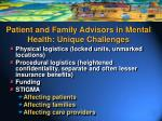 patient and family advisors in mental health unique challenges