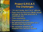 project g r e a t the challenges
