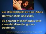 use of mental health services adults