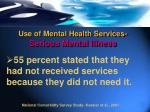 use of mental health services serious mental illness