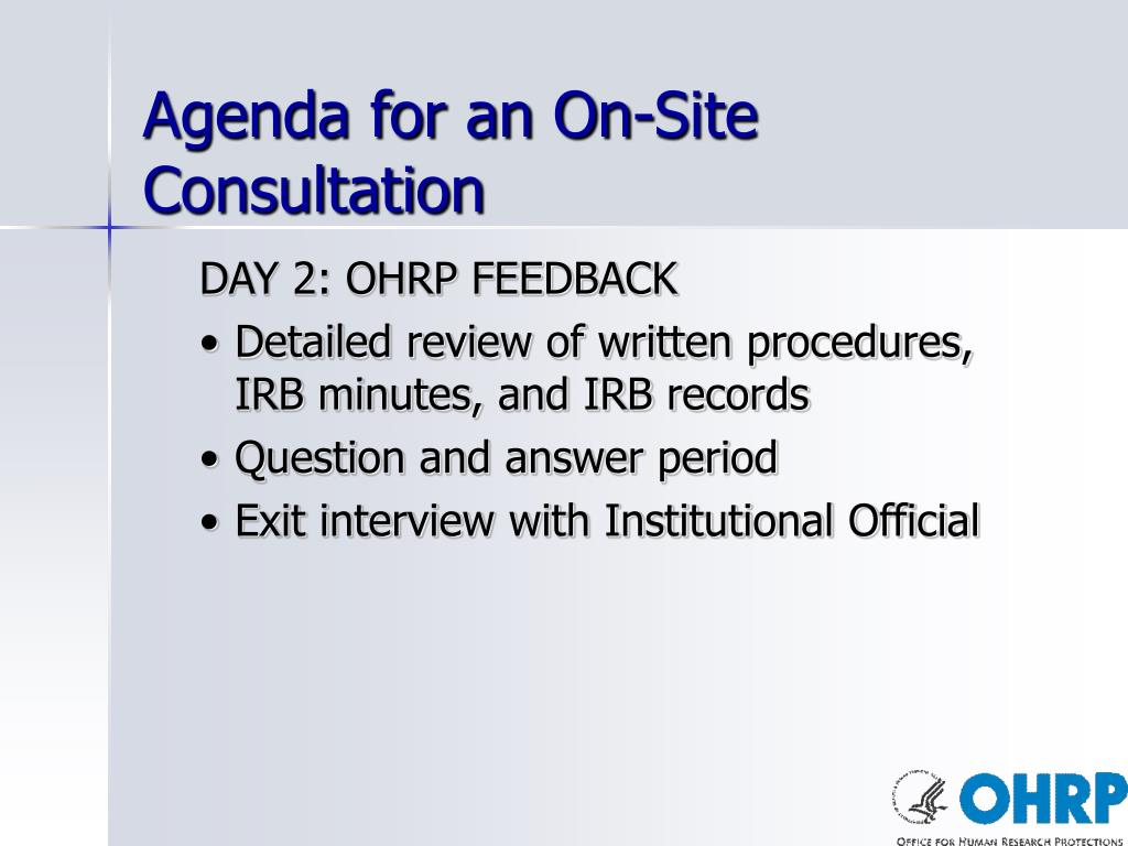 Agenda for an On-Site Consultation