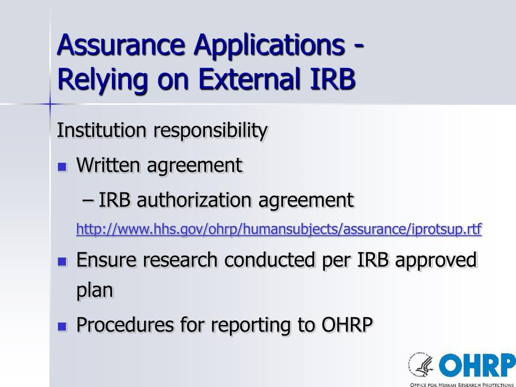 Assurance Applications -