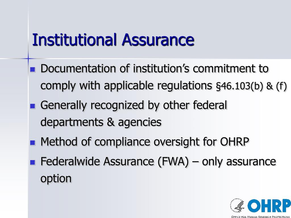 Institutional Assurance