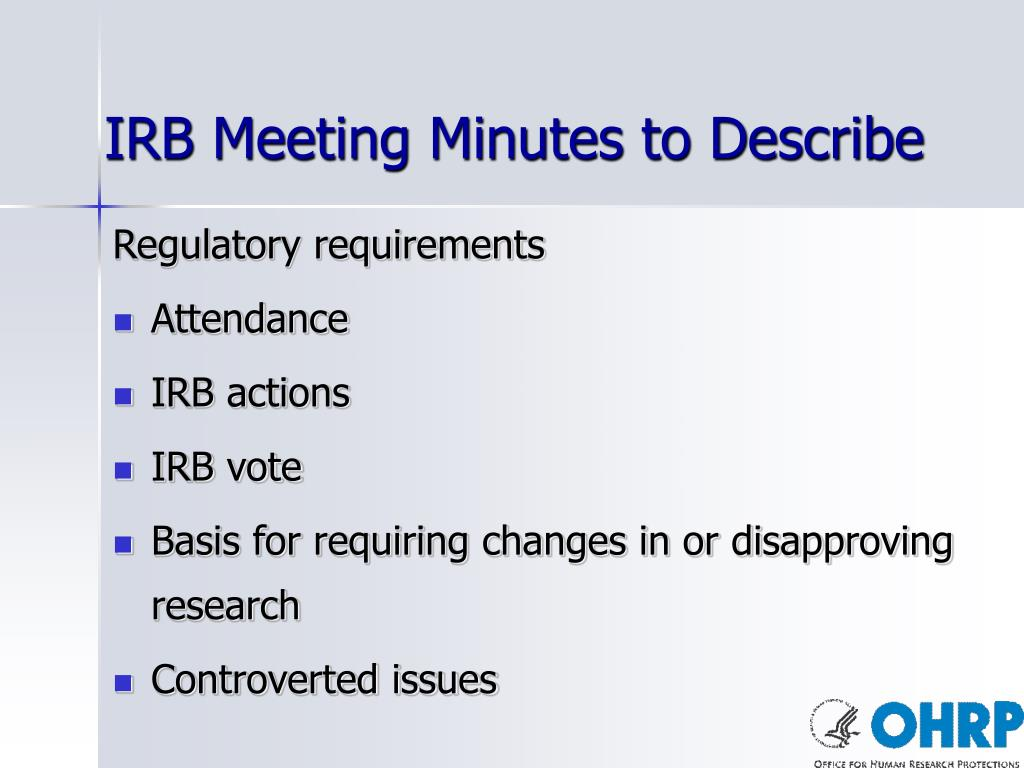 IRB Meeting Minutes to Describe